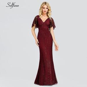 Image 5 - Sexy Sparkle Maix Dress For Women Short Sleeve V Neck Sequined Ladies Evening Party Dress Elegant Bodycon Dress Robe Femme 2020