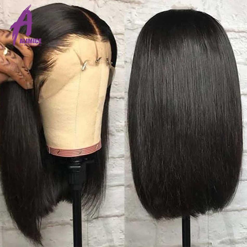 Бесклеевой Синтетические волосы на кружеве короткий парик 13x4 человеческие волосы парики предварительно вырезанные бразильские прямые короткие волосы для черный Для женщин Remy детскими волосами