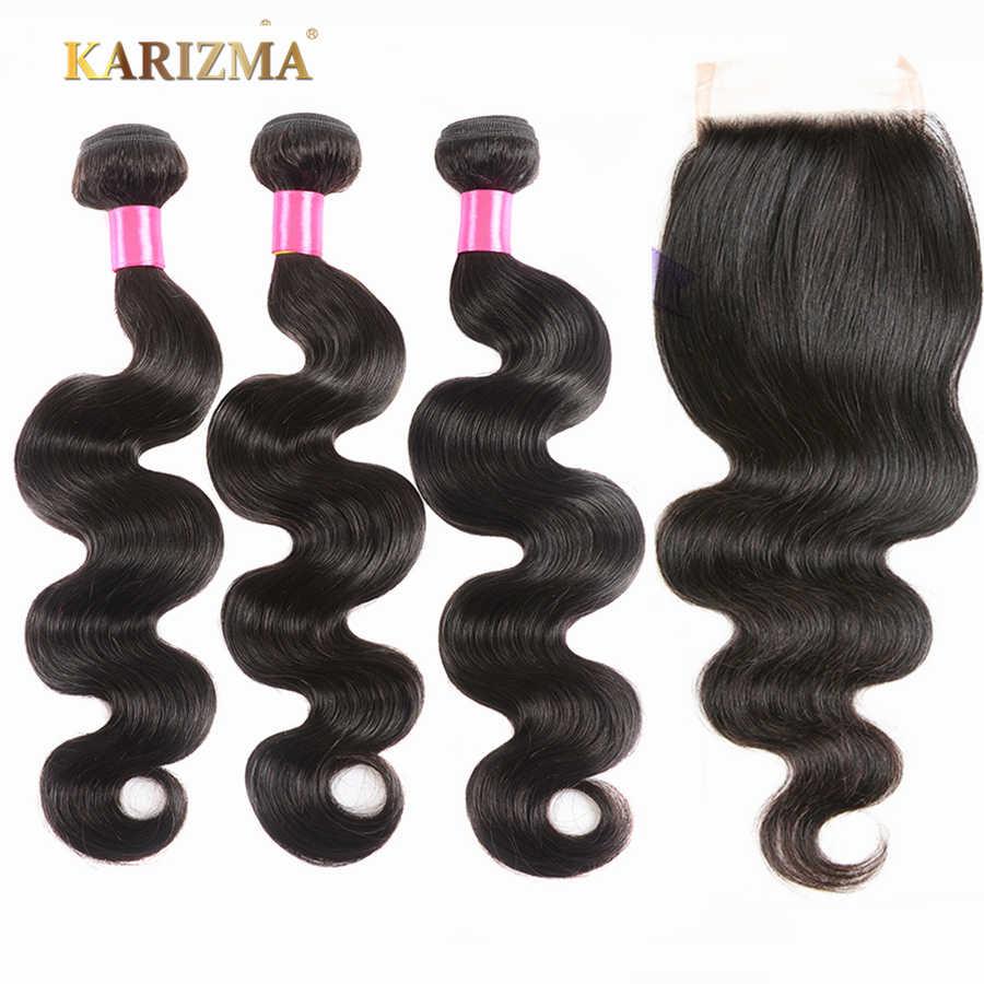 Cabello Karizma, 3 mechones con cierre peruano, onda del cuerpo con cierre de encaje, doble trama, extensiones de cabello humano no Remy con cierre
