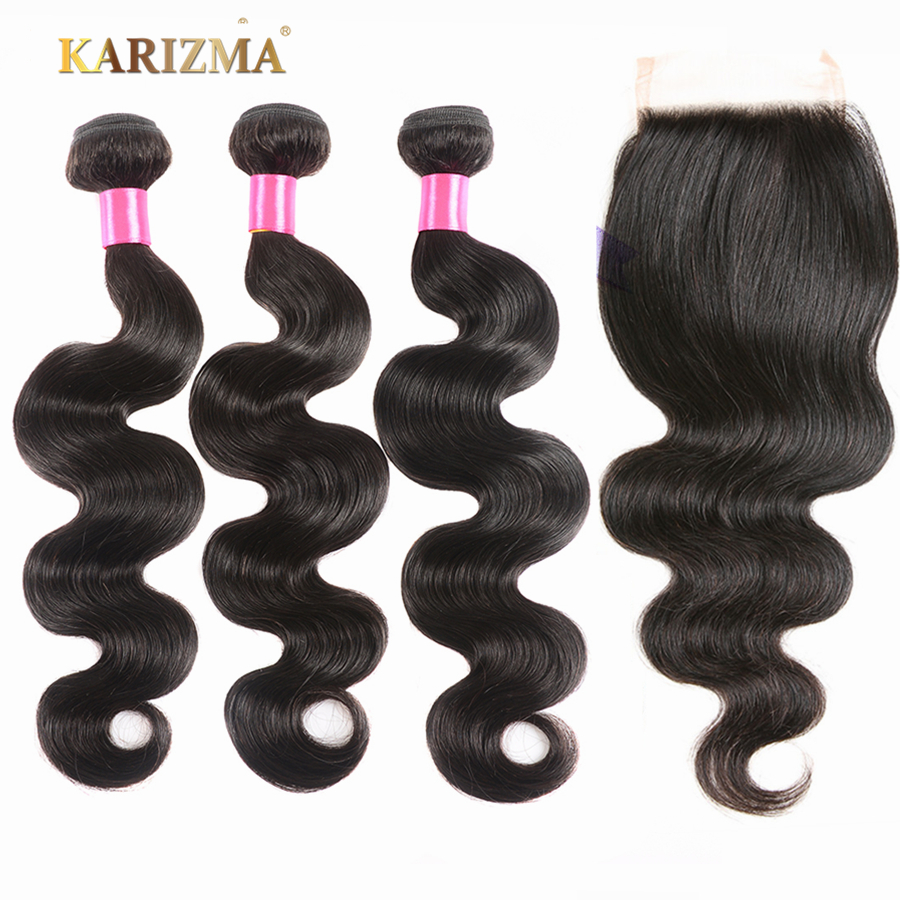 Karizma Hair 3 Bundles With Closure Peruvian Body Wave With Lace Closure Double Weft Non Remy Human Hair Bundles With Closure