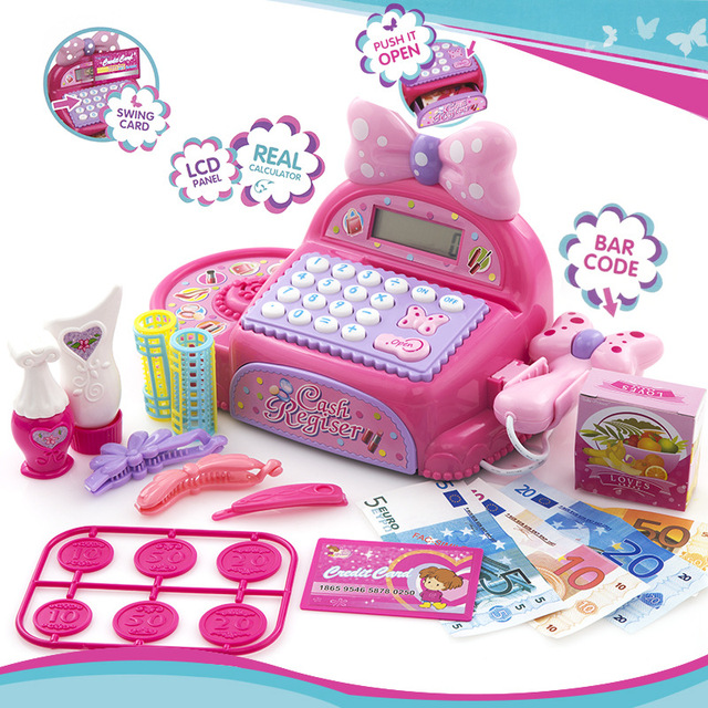 Kids Supermarket Cash Register Simulated Role Play Toys For Girls With Multi-Functional Calculator Pretend Play Toy For Children 1