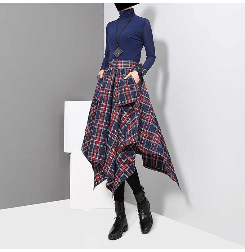 2019 秋の新不規則なスカート韓国の女性の格子縞のハイウエストスカートとベルト