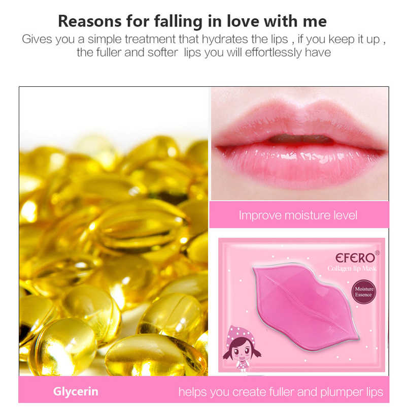 EFERO 1PC masque Gel pour les lèvres hydratant réparation supprimer les lignes imperfections éclaircir la ligne des lèvres masque collagène couleur des lèvres pour hydrater TSLM2