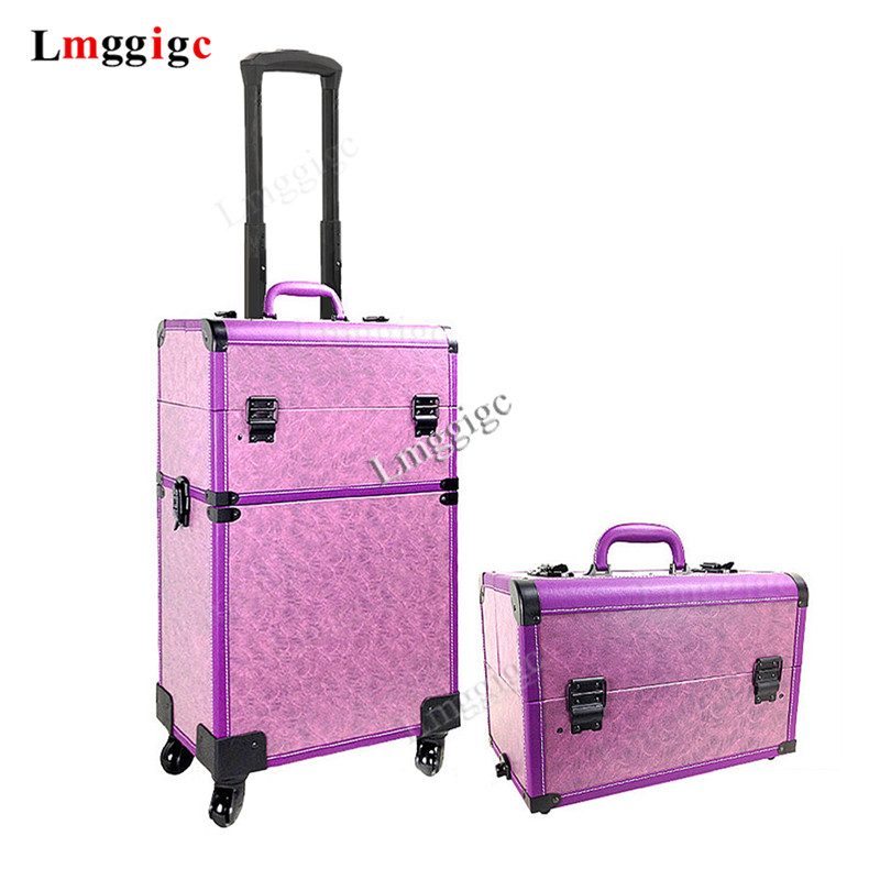 New  Cosmetic case with Rolling Tattoos Toolbox Cabin whell Manicurist bag artist Makeup Case  barber Luggage Box