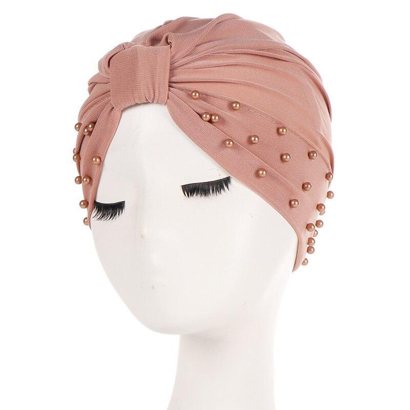 Hot Pearl Hemp Beading India Hijab Turban Elastic Muslim Hat Chemo Cap Headwrap Solid Bandanas Knot Black Pink New Hat Headwear