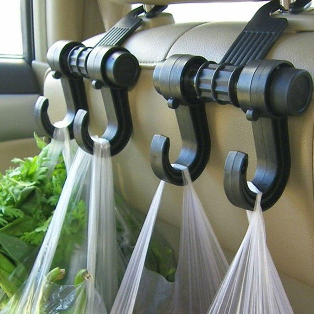 1PCS Double Car Seat Hook Back Seat Headrest Hanger Holder Hooks Clips For Bag Purse Cloth Grocery Automobile Car Accessories