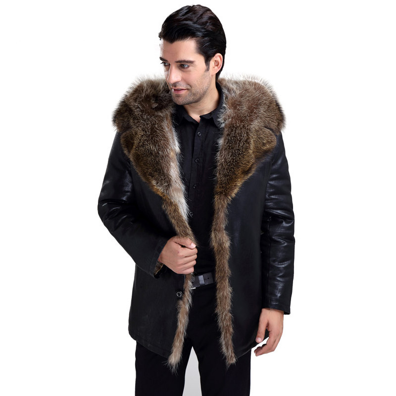 Abou Men's Fur Coat With Fur Hooded 2019 High Quality Fashion Leather Jacket For Real Lined Mens Overcoat