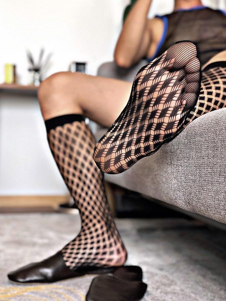 Tube Socks Men's Formal Dress Socks Business Men Streetwear Dress Socks Fashion Medium Tube Transparent Ultra-thin Fishnet Socks