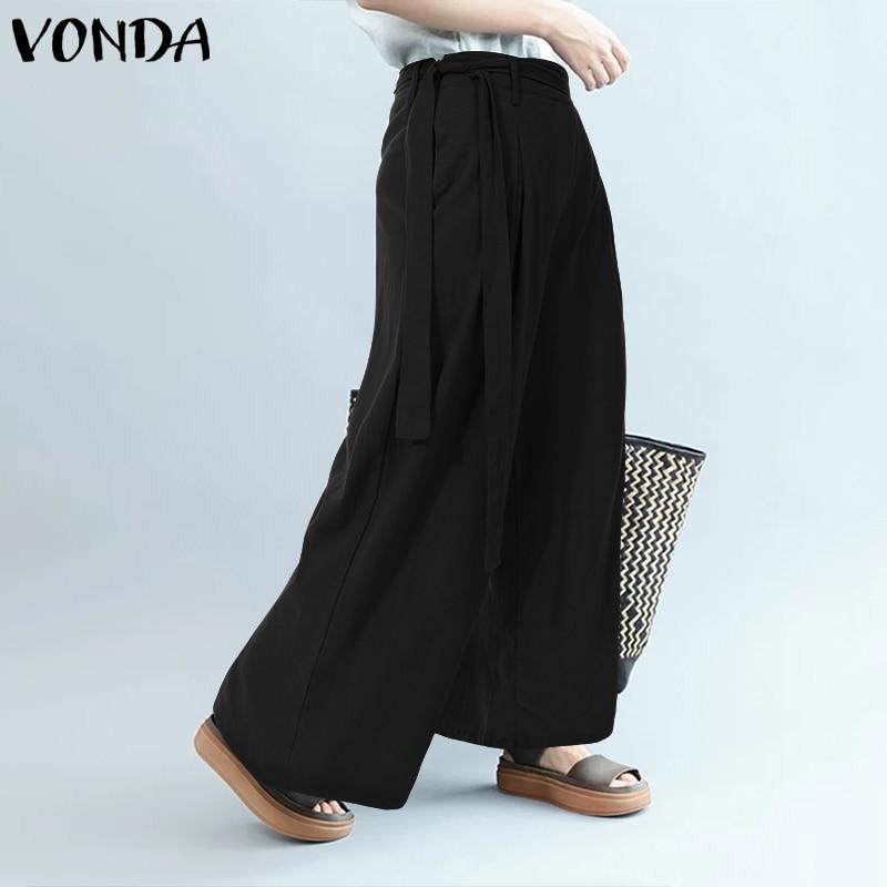 VONDA Women   Pants   2019 Spring Summer Casual Loose   Wide     Leg     Pants   Office Ladies Pantalon Party Overalls Women's Trousers Plus Si