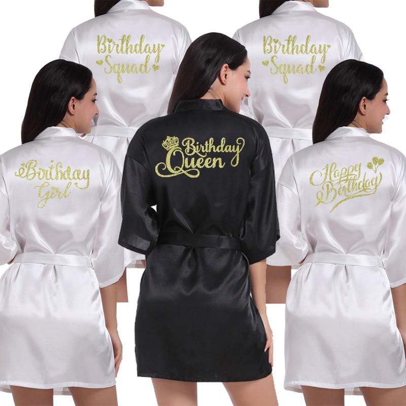 Birthday Girl Squad Kimono Robe Bathrobe Women Silk Birthday Robes Sexy Nightwear Robes Satin Robe Ladies Dressing Gowns