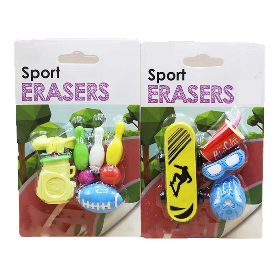 Cute Stationery Sports Amusement Game Eraser Golf Club Bag Maggic Eraseable Tools Campus Skateboard Rubber Eraser Sets
