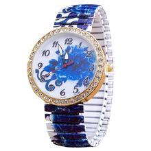 Luksusowe zegarki damskie elastyczność niebieskie kwiaty zegarek kwarcowy bransoleta termokurczliwa wyróżniający zegarek damski prezent Reloj Mujer tanie tanio Sanwony QUARTZ Klamra Stop Nie wodoodporne Moda casual 20mm ROUND Brak Szkło Women s Bracelet Casual Quartz Watch 24cm