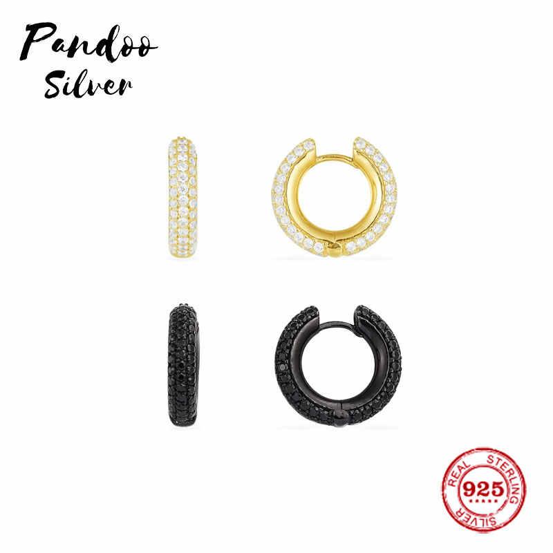 אופנה קסם סטרלינג כסף עותק 1:1 עותק, יוניסקס שחור סלול לבן סלול חישוק יוקרה עגילי נשים מונקו תכשיטי מתנה