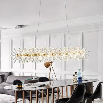 Uzun Avize Modern Kolye Lamba Lüks Kristal lampara colgante Oturma Odası için Otel Fuaye Kristal Fikstür Parlaklık