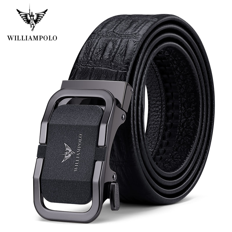 Williampolo Luxury Brand Designer Leather Mens Genuine Leather Strap Automatic Buckle Waist Belt Gold Belt #19897-98P