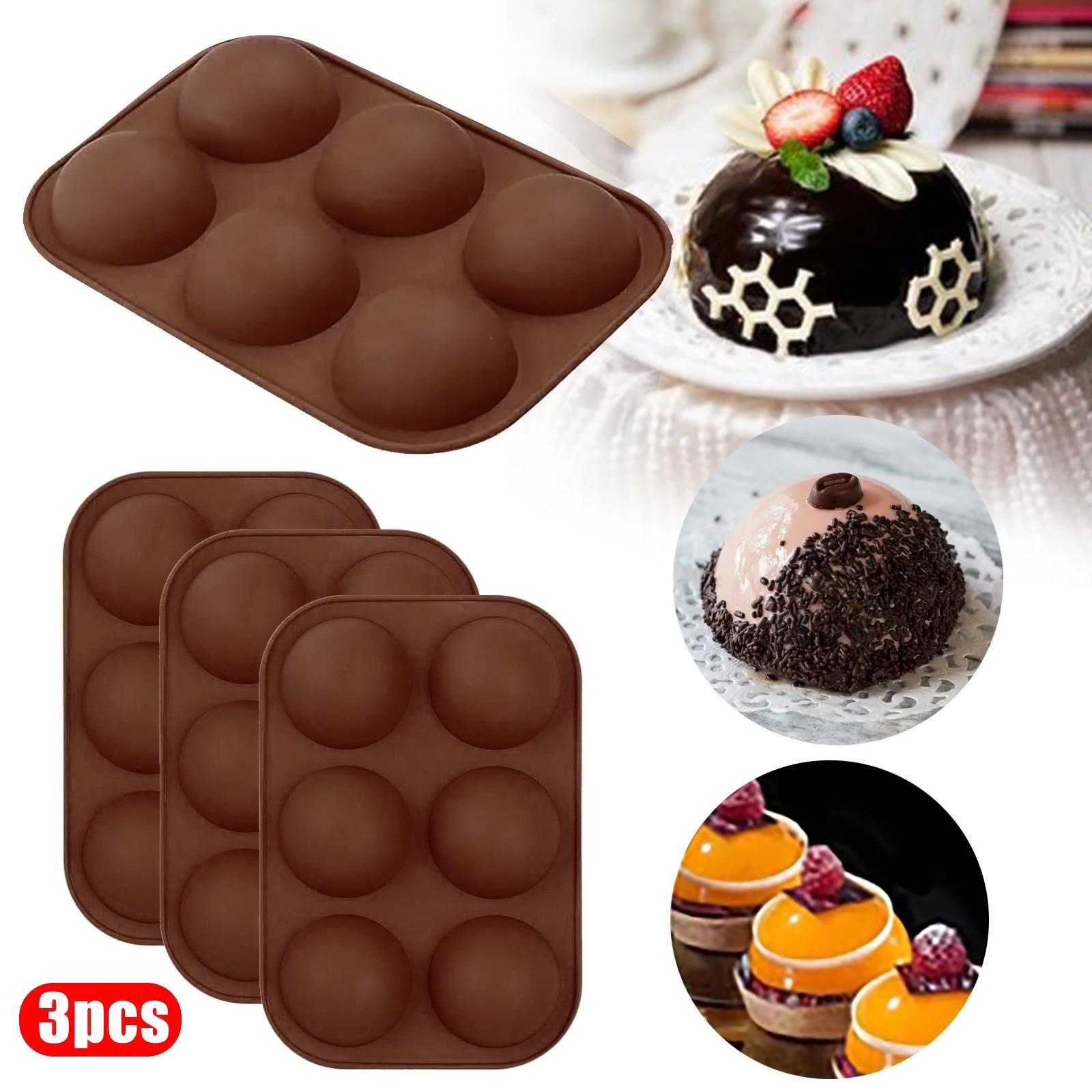1/2/3/4 шт. формы для свечей, средняя полусфера, силиконовая форма, форма для выпечки для изготовления торта, шоколада, желе, купола M ^ jux, коричне...