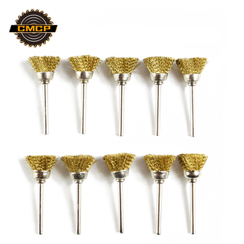 CMCP 10pcs Wire Polish Wheel Brush Set 3.0mm Shank Stainless Steel/Nylon/Brass Rotary Tools For Dremel Accessories 10pcs 22mm brass wire wheel brushes dremel accessories for grinder rotary tools 3mm shank mini drill polishing descaling
