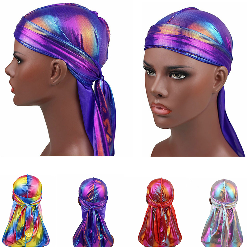 Turban Hat Hair Accessories Elastic Long Tail Hat <font><b>Men</b></font> Shiny Silky <font><b>Durag</b></font> Headband Sparkly Bandanas Colorful Hair Accessories image