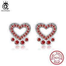 Stud-Earrings Orsa Jewels 925-Sterling-Silver Five-Color CZ Available Paw AAA Dog ASE126
