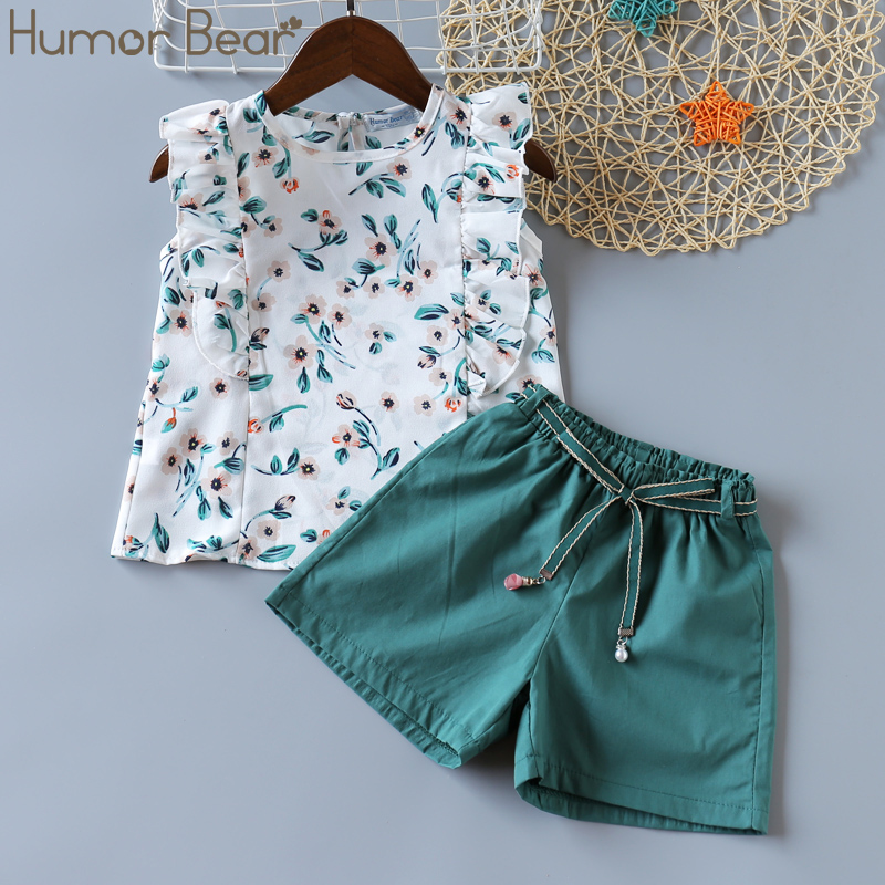 Humor Bear Girls Clothing Set 2020 Korean Summer New Ice Cream Bow Top T-shirt+Pants Kids Suit Toddler Baby Children's Clothes 12