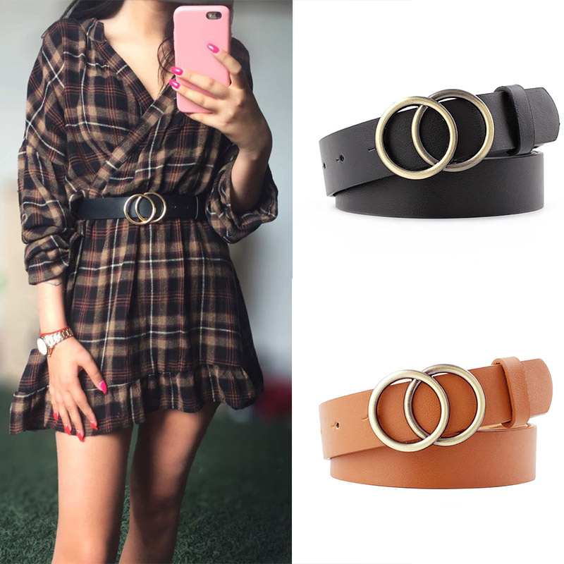 Double Ring Women Belt Fashion Waist Belt PU Leather Metal Buckle Heart Pin Belts For Ladies Leisure Dress Jeans Wild Waistband