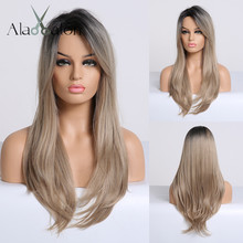 ALAN EATON Ombre Black Brown Blonde Long Straight Synthetic Wigs for Women Party Cosplay Wigs with Side Bangs Heat Resistant