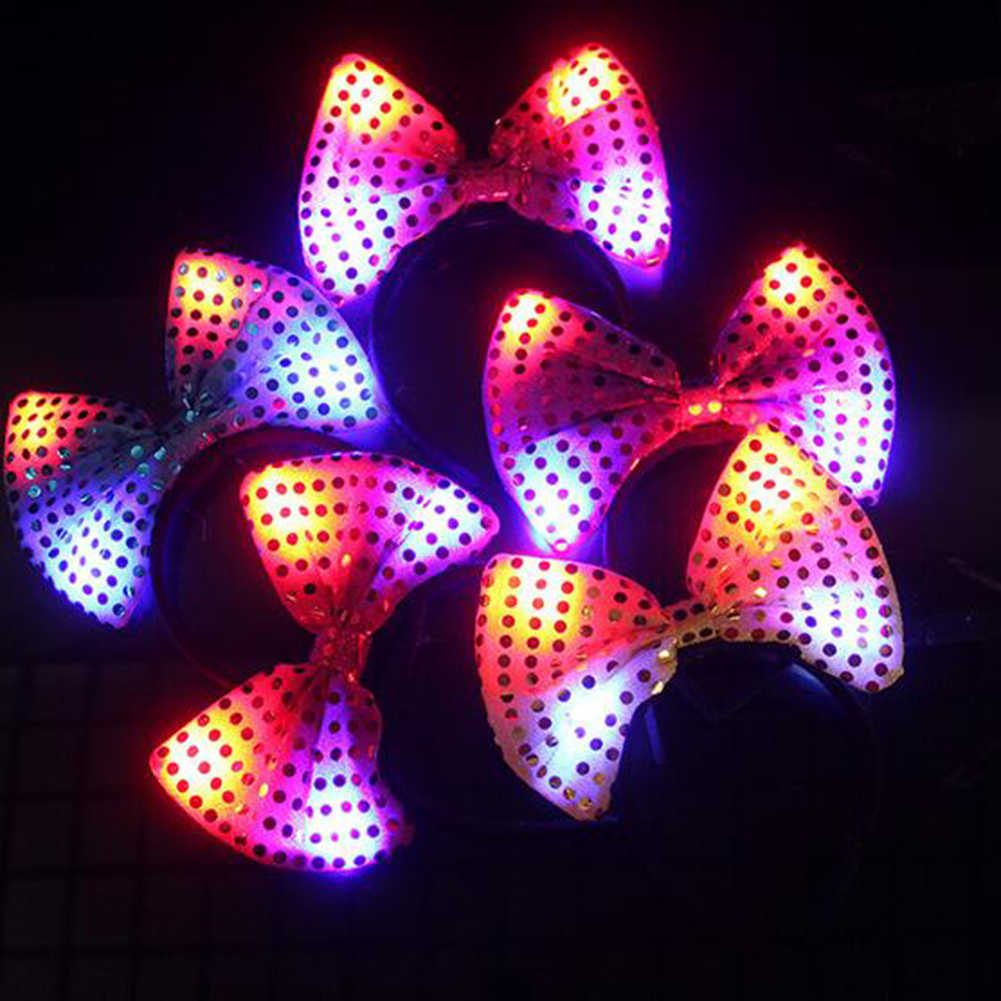 1 PC LED ผม Hoop เรืองแสง Sequins กระต่ายหูเด็ก Light Up Headband กระพริบ LED ผม Hoop สำหรับอุปกรณ์ PARTY