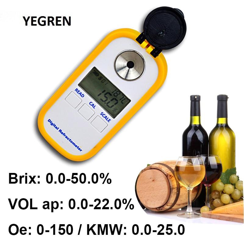 Portable Digital Alcohol Refractometer Wine Brix Meter OE KMW Tester Refractometer For Wine Brewing Sugar Concentration Detect