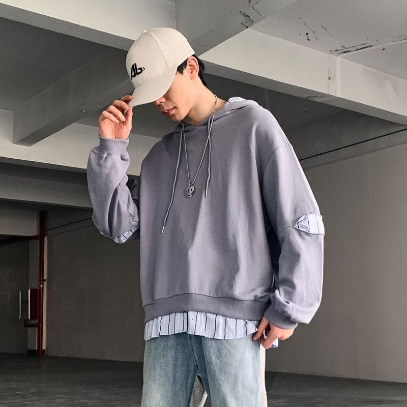 Extfination Streetwear Gray Patchwork Fake 2pcs Men's Hoodies 2020 Men Hooded Sweatshirts Oversized Man Casual Pullovers Tops