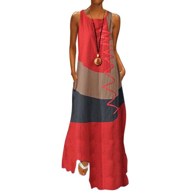 2020 Vintage Color Stitching Maxi Dress Women's Summer Sundress Casual Sleeveless Tank Vestidos Female O Neck Robe Femme