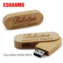 Деревянная поворотная usb-флешка, флешка, 8 ГБ, 16 ГБ, 32 ГБ, 64 ГБ, маленькая поворотная ручка, флешка, флешка, бесплатный логотип, более 10 шт
