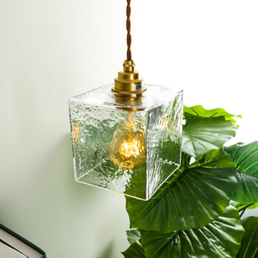 Nordic LED Glass Single Head Pendant Lights Lighting Retro Loft Bar Deco Pendant Lamp Living Room Bedroom Bedside Hanging Lamp
