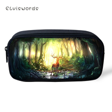 ELVISWORDS Kids Pencil Case Fantasy Deer Pattern Students Stationery Box Fashion Childrens School Pen Bag Girls Cute Beautician
