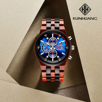KUNHUANG High Graded Fashion Blue Mineral Dial Wooden Watch Mens Watches Functional  Watches Sport Chronograph Relogio Masculino