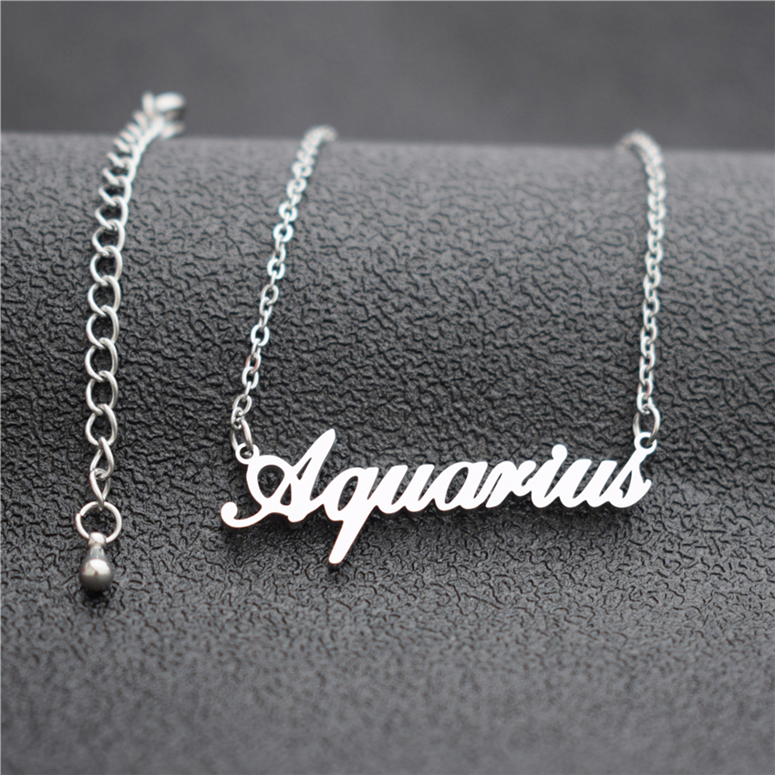 12 Zodiac Letter Constellations Pendants Necklace For Women Men Virgo Libra Scorpio Sagittarius Capricorn Aquarius Birthday Gift