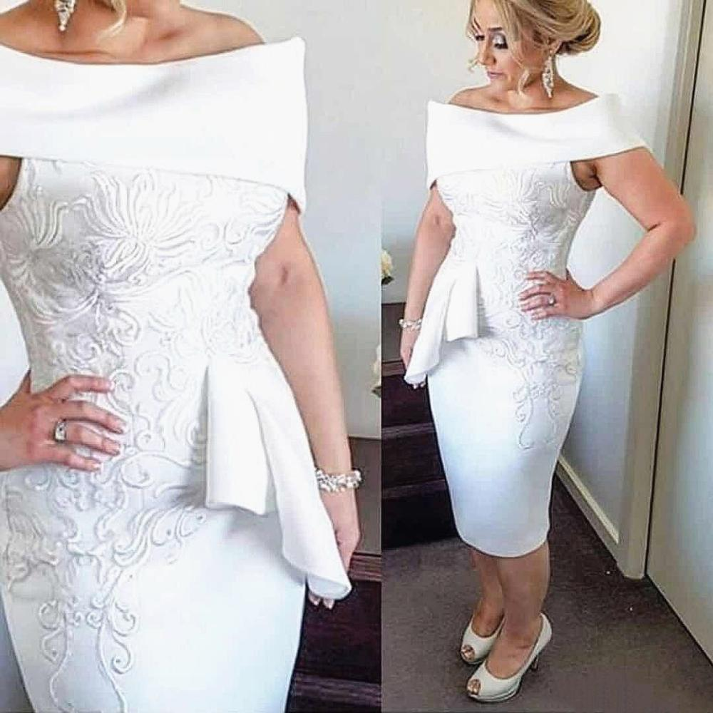 Knee Length Short Mother of the Bride Dress Off Shoulder Cap sleeve Column 2020 Formal Evening Party Wedding Guest Gown
