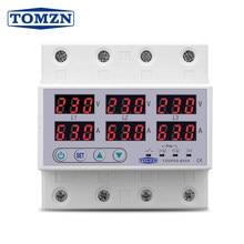 Din Rail 3 Phase Voltage Relay 380V Voltmeter Ammeter Over and Under Voltage Monitor Relays Protector Adjust Current Overvoltage