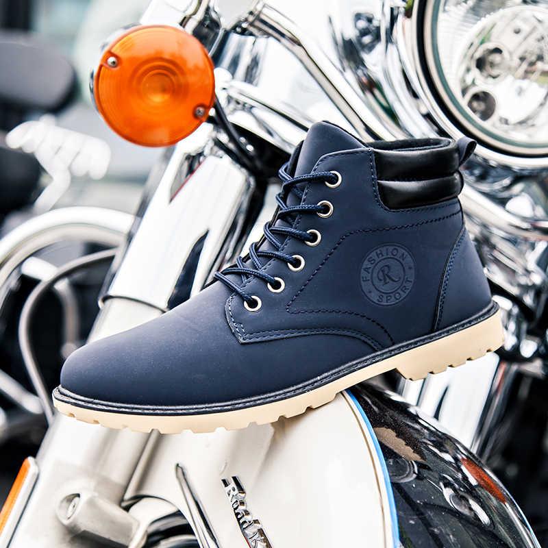 Giày Nam Nóng Ấm Thoải Mái Ủng Giày Công Sở Nam Da PU Buộc Dây Cổ Chân Quân Sự Giày Cổ Điển masculino