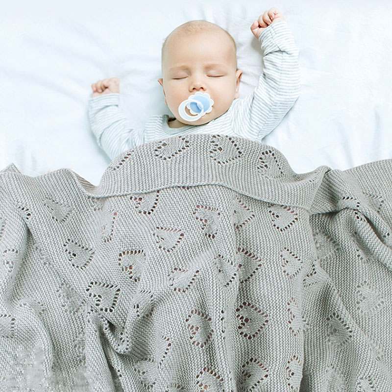 Solid Knitted Baby Blankets Newborn Wrap Cotton Stroller Bedding Quilts Toddler Swaddling Wrap Infant Muslin Swaddle 100*80 CM