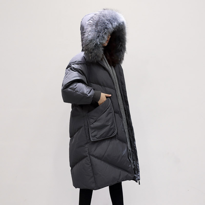 Jacket Down Woman Hooded Korean Parka Winter Coat Women Raccoon Fur Collar Long Coats Loose Parkas Mujer 2020 MY1517 S S