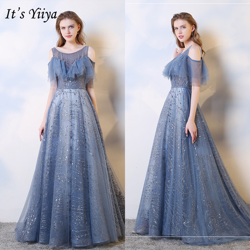 It's Yiiya Evening Dress 2019 Elegant Luxury Train Sequins A-Line Formal Gowns Short Sleeve O-Neck Lace Up Robe De Soiree E1030
