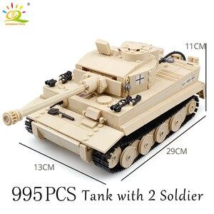 Image 5 - HUIQIBAO wojskowy niemiecki król tygrys zbiornik model klocki armii WW2 figurki żołnierzy człowiek broń cegły dzieci zabawki chłopięce prezent