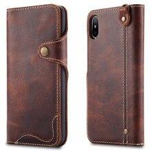 Чехол-кошелек из натуральной кожи для Apple iPhone X 8 Plus, Ретро винтажный Чехол-книжка с застежкой
