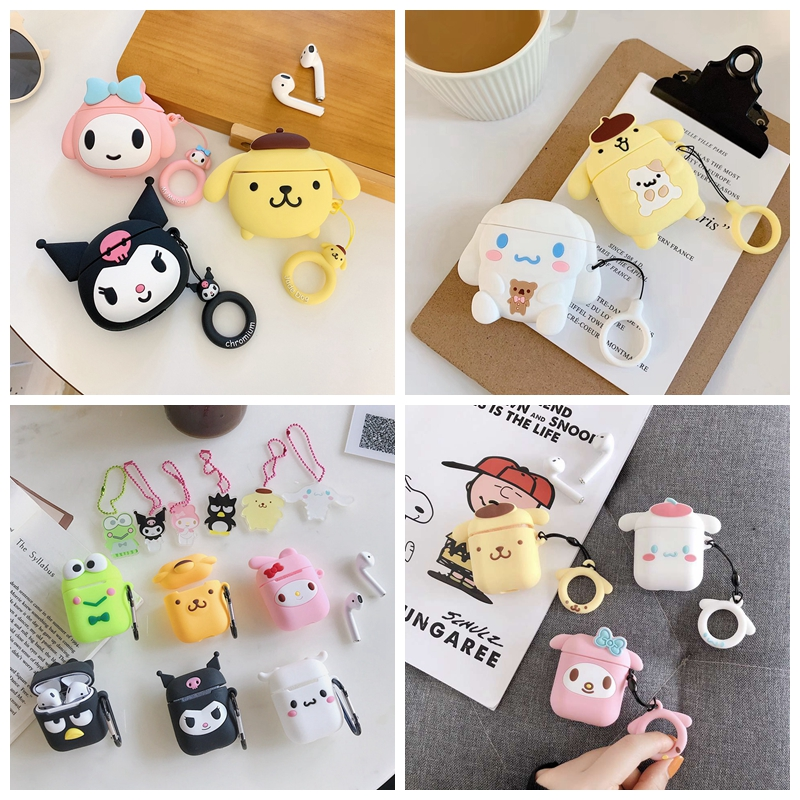 For AirPods Case 3D Cute Cartoon Kawaii Melody Purin Frog Earphone Case For Airpods 2/i10/i11 TWS Protect Cover With Pendant