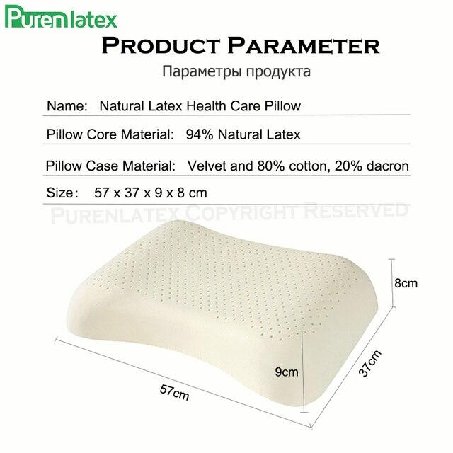 PurenLatex 57x37 Ventilated Thailand Pure Natural Latex Pillow Concave Anti-Stiff Soft Orthopedic Pillow Vertebrae Health Care 10