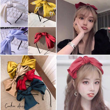 Sweet Korean Solid Color Big Bow Hairbands For Women Girls Knot Bow Hairband Ribbon Headbands With Satin Hair Accessories Gift