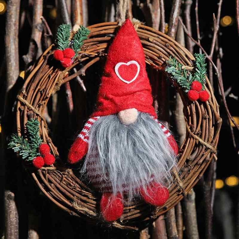 Рождественская безликая маленькая кукла подвесной декоративный цветок кольцо отличная Нетканая ткань и лоза посадки окна украшения