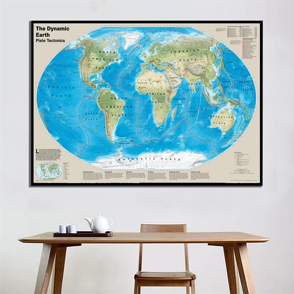A2 Size The Dynamic Earth Plate Tectonics Unframed World Map Fine Canvas Painting For School/Home Wall Decor
