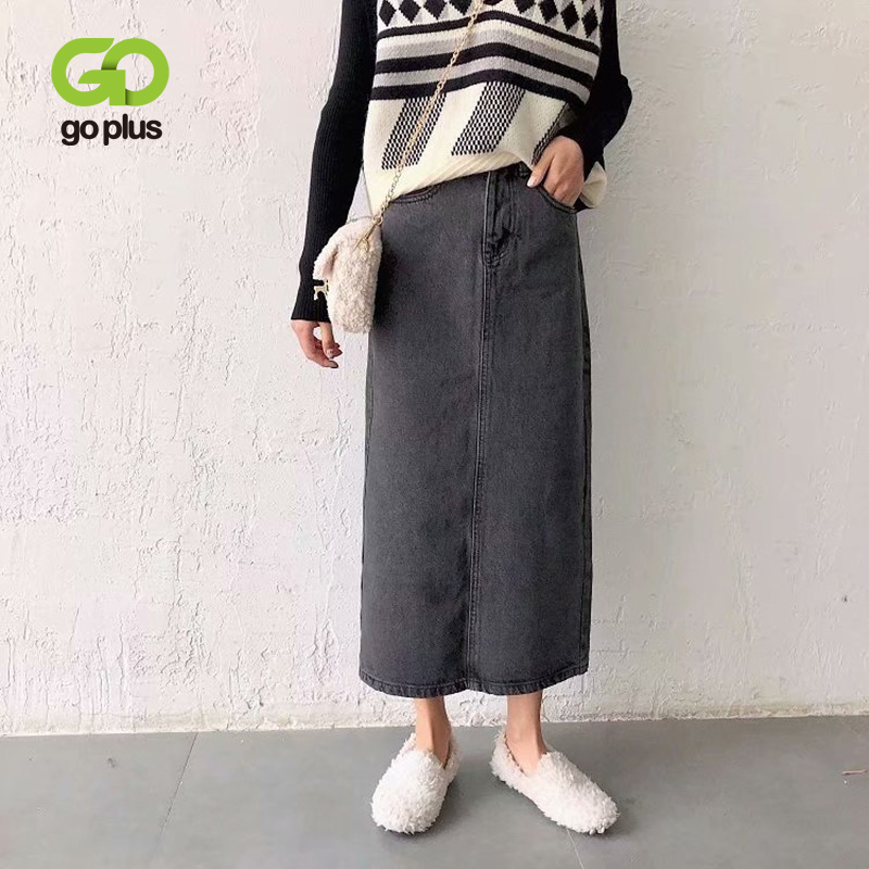 GOPLUS High Waisted Skirt Harajuku Denim Black Skirts Streetwear Womens Mid-Calf Long Skirt Jupe Crayon Femme Rokjes Dames C9773