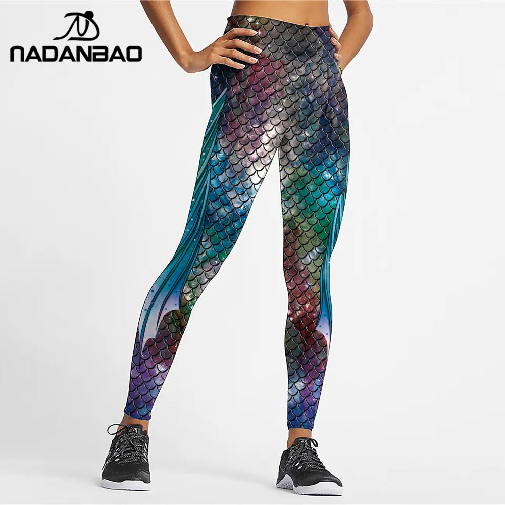 NADANBAO 2020 High Waist Mermaid Leggings For Women Fish Scale Printed Leggins Sexy Slim Fit Legins Elastic Women Pants Plus